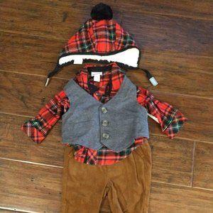Cat & Jack Boys Flannel Outfit Sz 0-3M